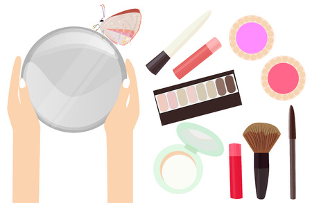 hand mirror: Collection of cosmetic with the mirror is holding by hand beauty accessories vector