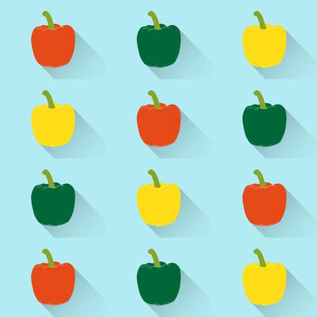 bell pepper: Bell pepper or sweet pepper seamless pattern vector background Illustration