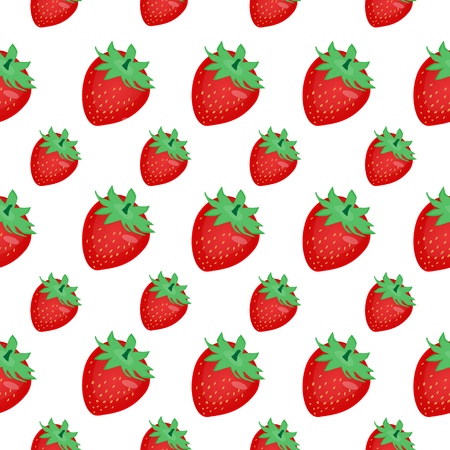berry fruit: Strawberries Berry fruit seamless pattern vector background