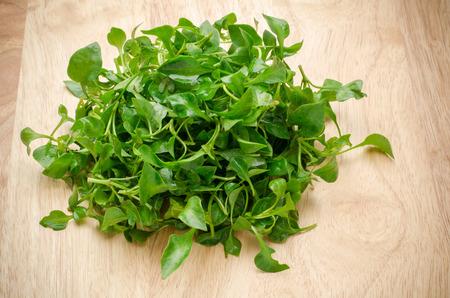 berro: berros frescos (planta acuática) en el fondo de madera, vegetales orgánicos, alimentación limpia