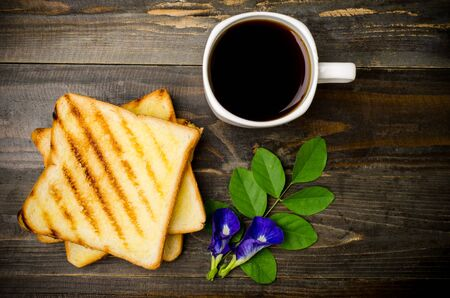 morning breakfast: Toast and coffee in the morning,breakfast or meal