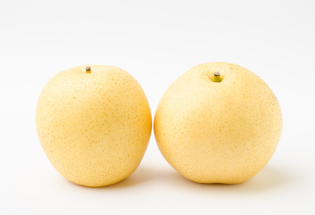asian pear: Fresh asian pear (tropical fruit) on white background Stock Photo