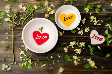love abstract: Heart shape with love on wooden background,Valentine day,love concept