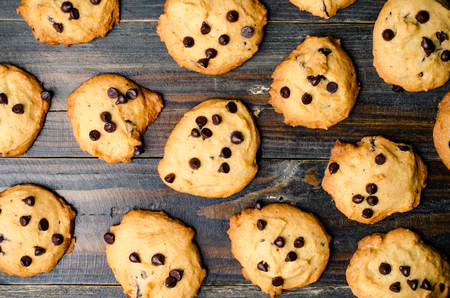 chocolate chip cookies: Homemade chocolate chip cookies on wooden background