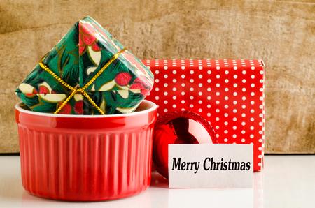 text box: Gift box with Merry Christmas text Stock Photo