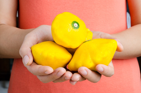 patty: Yellow patty pan squash hold by hand Stock Photo