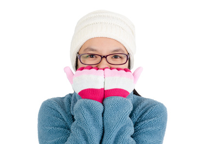 coldness: Asia woman feeling cold in winter season,isolated on white background