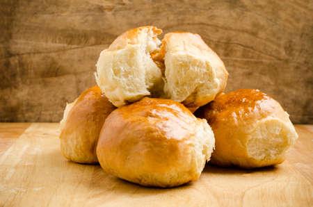 Fresh bun on wooden background,homemade bakery Stock Photo