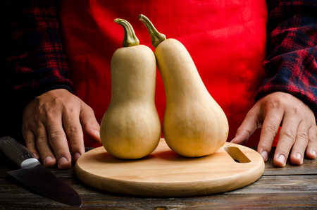 butternut: Butternut squash on plate prepare to cooking Stock Photo
