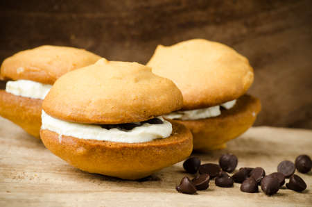 chocolate chip: Homemade cookies with whipping cream and chocolate chip Stock Photo