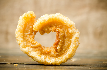 Close up of pork rind,popular Northern Thai food Stock Photo