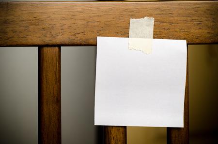 memorise: Blank paper card stick on chair