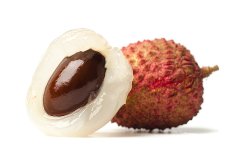 Lychee or litchi (tropical fruit) on white background Stock Photo