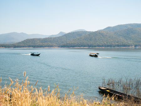 explotion: Thai taxi boat at Mae Ngad Dam and Reservoir,Chiangmai,Thailand