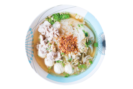 Thai food,Spicy noodle soup in a bowl isolated on white background Stok Fotoğraf