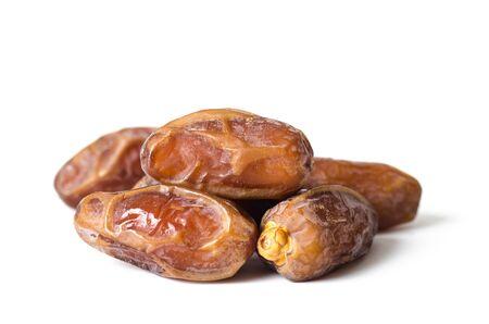 Dried date palm fruit (Deglet Noor) on white background,Ramadan fruit