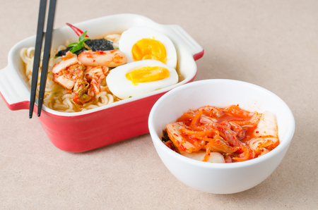 Instant noodles and kimchi cabbage ready to eating,Korean food