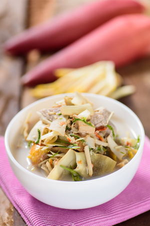 Thai food (Kaeng Hua Plee), spicy banana flower soup with pork in a bowl