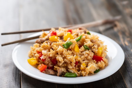 Fried rice with vegetables and pork, Asian cuisine