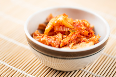 Kimchi cabbage in a bowl, Korean food Stock Photo