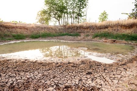Sol fissuré dans l'étang en été, sécheresse en Thaïlande, changement climatique