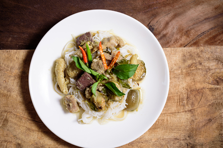 Thai green curry chicken with rice noodles, Thai food