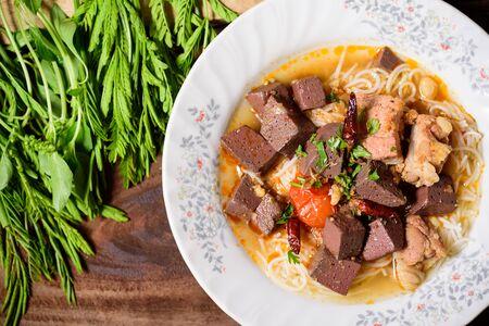Thai rice noodles spicy soup (Kanom Jeen Nam Ngeaw), Northern Thai food Zdjęcie Seryjne