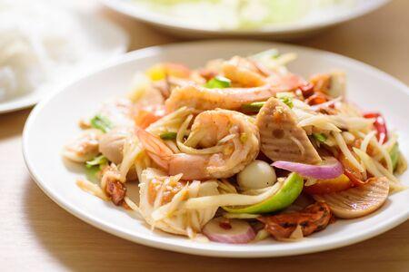 Spicy papaya salad with shrimp, Thai food Zdjęcie Seryjne