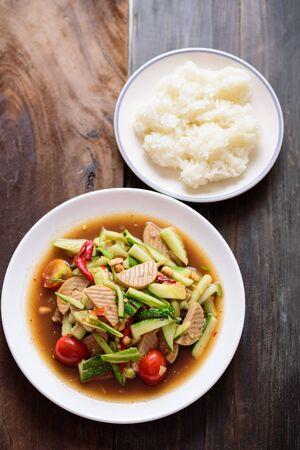 Spicy cucumber salad and sticky rice, Thai food Zdjęcie Seryjne