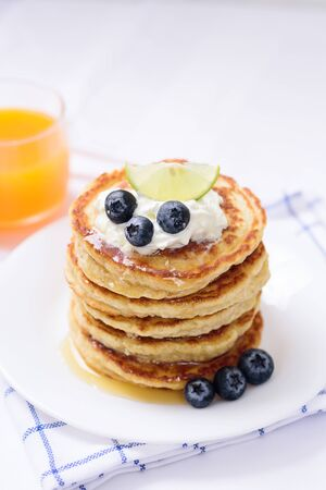 Stack of oatmeal pancake with blueberry