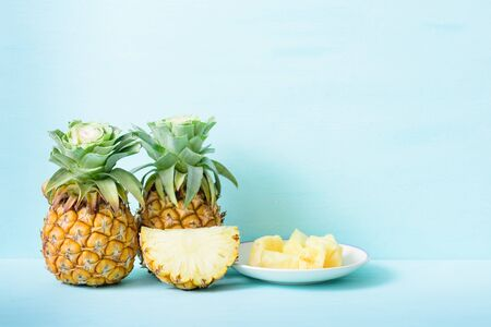 Sliced pineapple and fresh pineapple fruit, tropical fruit