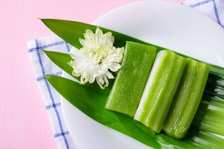 Thai dessert (Khanom chan), steamed layer sweet cake with pandan flavor