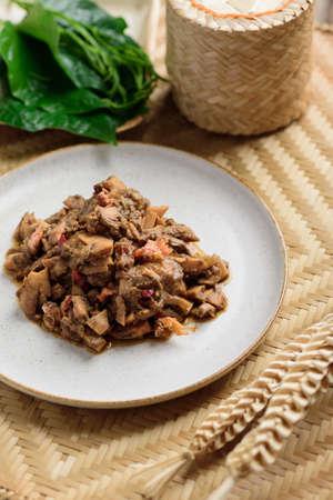 Northern Thai food (Tum Kraton), Spicy santol salad with crab paste Zdjęcie Seryjne