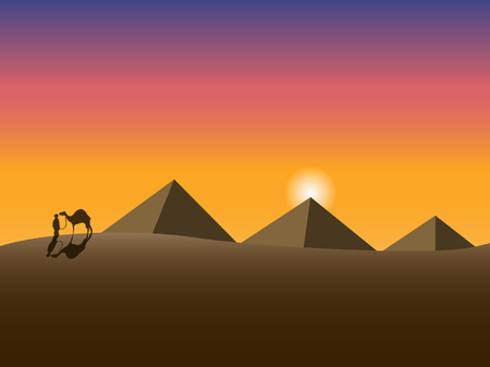 The man with the camel on the background of pyramids