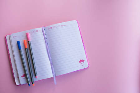 Flat composition with notebooks, colored pens and glasses, pink background.