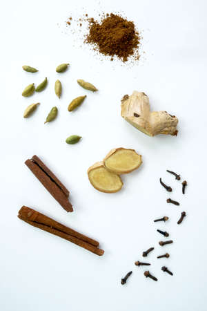Creative layout made of masala tea on white background. View from above. Indian drink. High quality photo