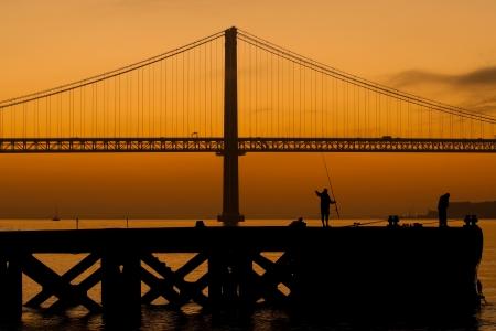 In Lisbon at dawn, fishermen begin to work photo