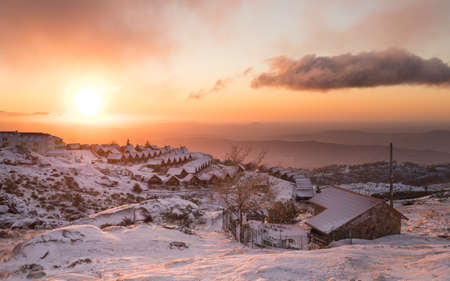 Dawn in the mountain village Penhas da Saúde. Located at more than 1,500m of altitude, this is the highest village in Portugal.