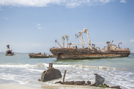 ship cemetery - abandoned ships carcasses in the atlantic ocean, Angola, Africa