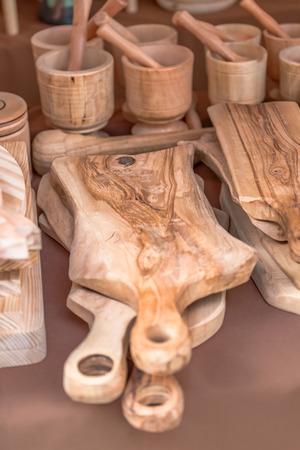 Wooden kitchen utensils, in traditional market