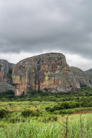 View at the mountains Pungo Andongo, Pedras Negras (black stones), huge geologic rock elements, in Malange, Angola