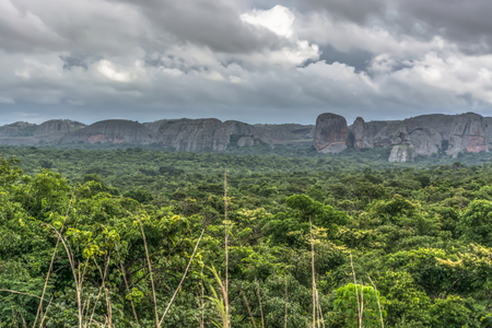 View of a tropical landscape, with forest and mountains Pungo Andongo, Pedras Negras , black stones, huge geologic rock elements, cloudy sky as background, in Malange, Angola Banco de Imagens - 117139140