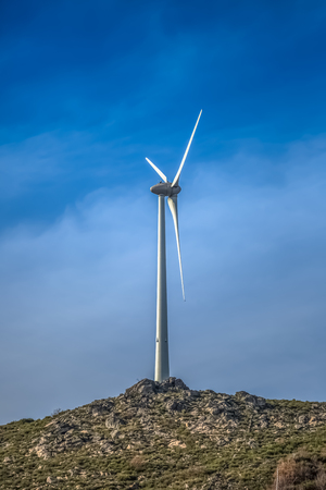 Detailed view of a wind turbine on top of mountains, in Portugal