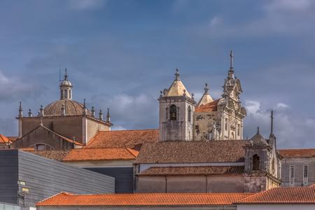 Coimbra / Portugal - 04 04 2019 : View of the baroquel building of New Coimbra Cathedral, Nova Sé Catedral de Coimbra, em Portugal Stock Photo
