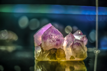 Detailed view of a mineral stone on blurred background...