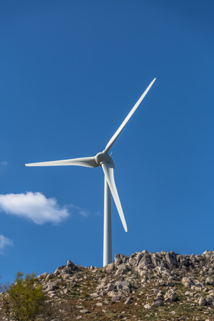 View of a wind turbine on top of mountains, in Portugal