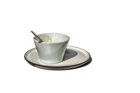 View of ceramic coffee cup and saucer on white background...