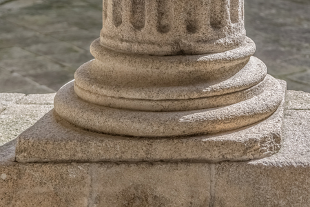 Detail view of a ionic style base column, romanesque columns gallery, Portugal Banco de Imagens