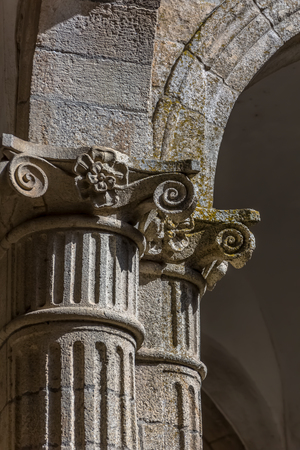 Detail view of a ionic style capital column, romanesque columns gallery, Portugal