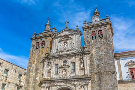 Viseu  Portugal - 04 16 2019 : View at the front facade of the Cathedral of Viseu, Adro da Sé Cathedral de Viseu, architectural icon of the city of Viseu, Portugal